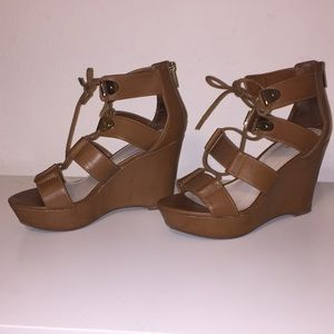 Bar III Brown wedge lace-up sandals size 7